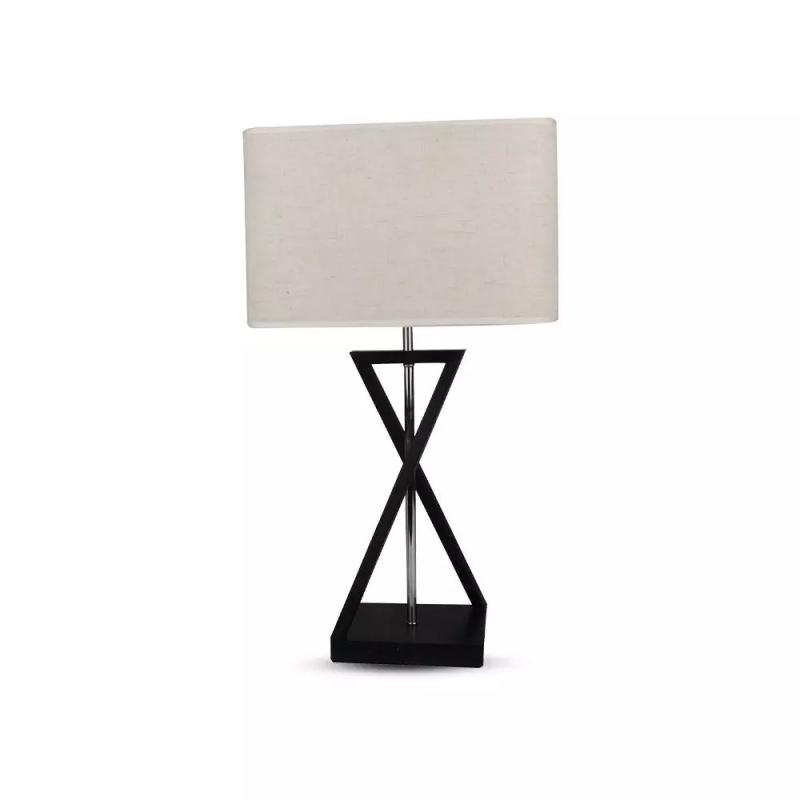 Vtac Lampada Da Tavolo Per Lampadina E27 Con Paralume Effetto Tessuto Avorio In Metallo H 57cm Sku 40381 Vt 7712